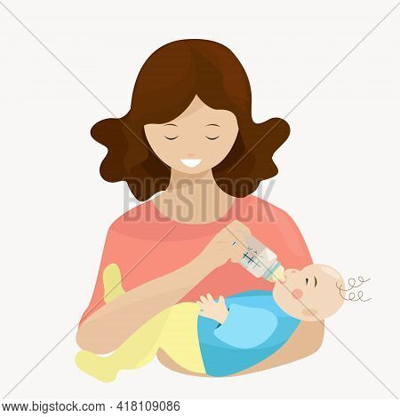 Mom Feeds The Baby From A Bottle In Her Arms. Isolated Element On A White Background. The Topic Of A