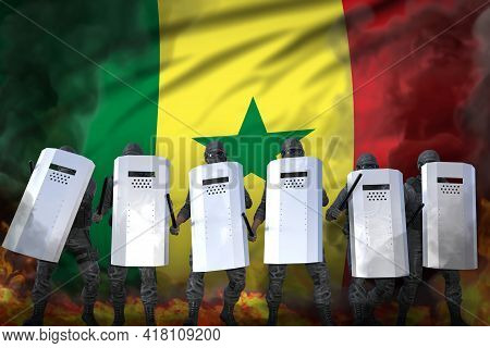 Senegal Protest Stopping Concept, Police Swat In Heavy Smoke And Fire Protecting Order Against Mutin