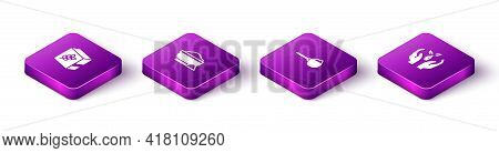 Set Isometric Flour Pack, Bowl, Measuring Cup With Flour And Plant Hand Icon. Vector