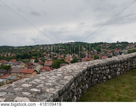 Doboj, Bosnia And Herzegovina - July 18, 2020: Aerial View Of Doboj Hilly Suburbs From Medieval Fort
