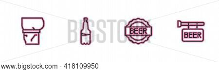 Set Line Beer Belly, Bottle Cap With Beer, Plastic Bottle And Street Signboard Icon. Vector