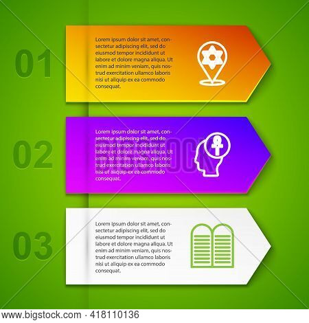 Set Line Star Of David, Cross Ankh And The Commandments. Business Infographic Template. Vector