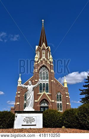 Gentilly, Minnesota, April 17, 2021: St.peters Catholic Is Gentilly, Minnesota Is Of Old Gothic Revi