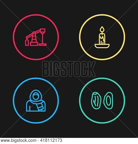 Set Line Muslim Woman In Hijab, Date Fruit, Burning Candle And Oil Pump Or Pump Jack Icon. Vector
