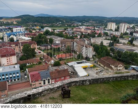 Doboj, Bosnia And Herzegovina - July 18, 2020: View Of The Town Of Doboj And The Hilly Countryside F
