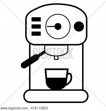 Coffee Machine Icon On White Background. Bar Espresso Coffee Machine. Coffee Machine Sign. Flat Styl