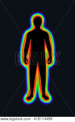 The Aura Of The Body. The Rainbow Color Marks The Layers Of The Male Body. The Etheric, Emotional, M