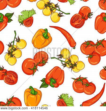 Vector Seamless Pattern With Tomato And Paprika. Illustration Isolated On White Background. Hand Dra