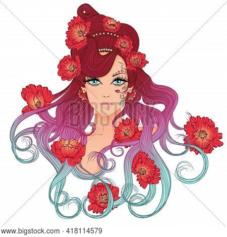 Vector Illustration With A Portrait Of A Beautiful Young Girl With Long Hair With Hairdress Of Poppi