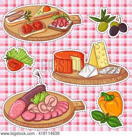 Vector Illustration Set Of Stickers With Various Appetizers On A Plaid Background. Hand Drawn Icons