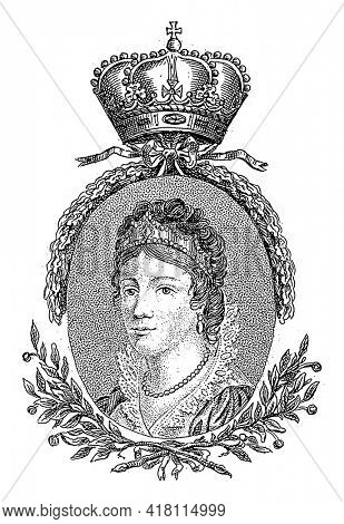Portrait of Wilhelmina in an oval with laurel leaves. Center above a crown. In the bottom margin her name and title.