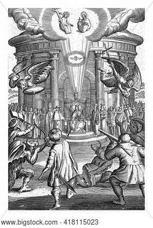 In front of a round church building people are depicted who represent the church, such as Christ and clergy. Two angels protect the church from attack by unbelievers or the wicked