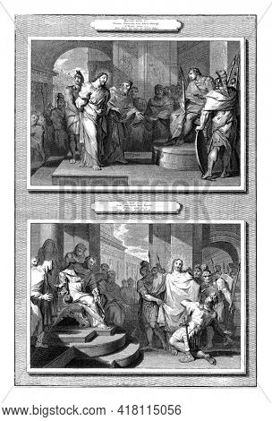 Two performances. Above: Christ before Pilate (Matt. 27). Pilate asks him if he is the king of the Jews. Below: Christ for Herod.