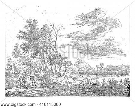 Three travelers seen from behind on their way, the one in front with staff, the rear two with packs. Left behind a carriage, on the right a lake.
