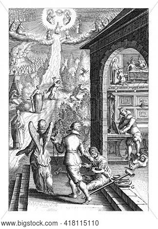 A man with a Bible and a rosary in hand follows an angel who points to an apparition of God in heaven. The man gives money to a crippled beggar.