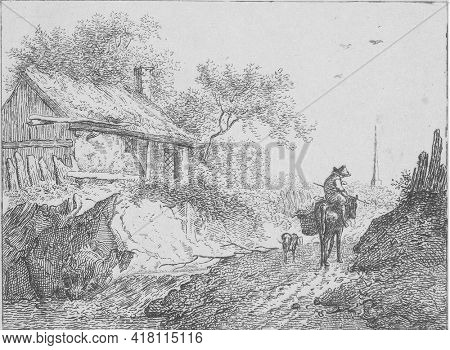 A man is riding a pack mule. A dog is walking next to them. A house to the left of the road.