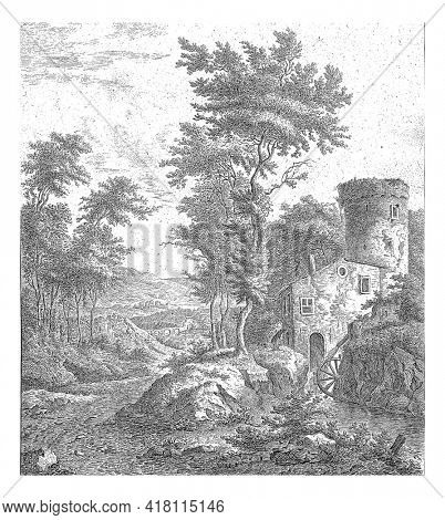 A river running downhill with trees on either side. To the left a house with a tower and water wheel. In the background a valley with a bridge or aqueduct.