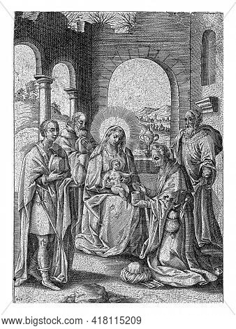 The Christ Child, in the presence of Mary and Joseph, is worshiped by the three Wise Men from the East who have set themselves up with the Child with their gifts.