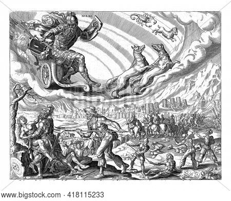 Mars rides in his chariot in the sky, pulled by two dogs. The signs of Scorpio and Aries indicate which people belong to the sphere of influence of Mars.