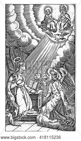 The angel Gabriel announces to Mary that she will become pregnant. Maria is kneeling by her lectern, on which is a book.