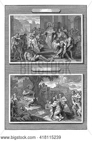 Two pictures on one plate accompanying the Gospel of Matthew. In the top picture, Christ is in the midst of the sick who are brought to him.