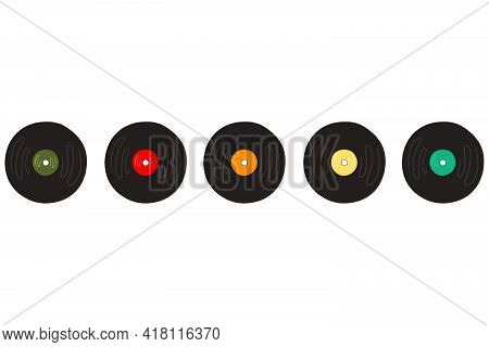 Vector Musical Vinyl Colored Record In Retro Style
