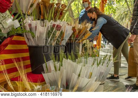 Palma De Mallorca; April 23 2021: Festivity Of Sant Jordi Or Book Day In Times Of The Coronavirus Pa