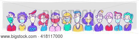 Group Of People Wearing Medical Masks Protection From Disease, To Prevent Flu, Air Infected Virus, A
