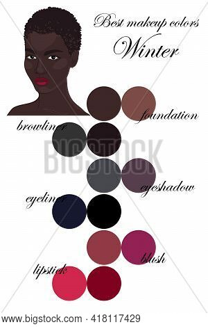 Best Makeup Colors For Winter Type Of Appearance. Seasonal Color Analysis Palette. Face Of Beautiful