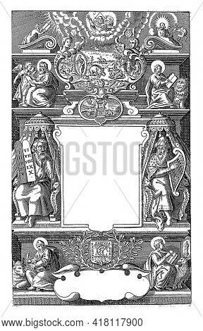 Architectural wall with various Biblical scenes, Jaspar de Isaac, 1631