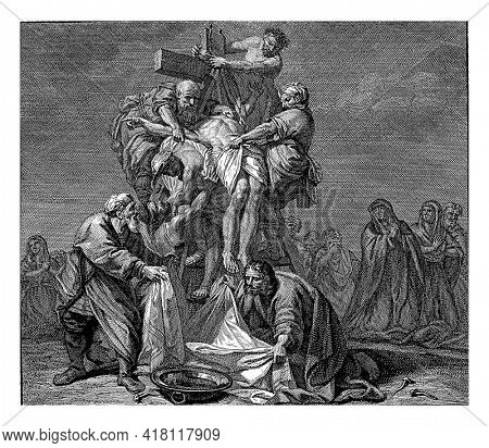 Christ is taken down from the cross by Nicodemus, Joseph and others.