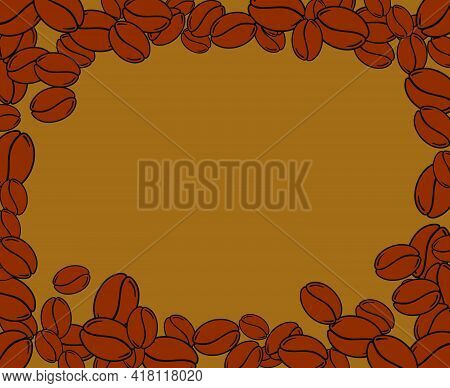 Scattered Roasted Coffee Beans Blank Brown Frame. Graphic Cafe Menu Template Vector Illustration.