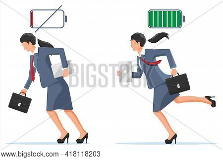 Businesswoman And Life Energy. Business Woman With Low Battery And With High Full Level Energy. Stre