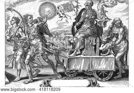 In the foreground the triumphal chariot of Endurance (Patientia), drawn by Hope (Spes) and Desire (Desiderium). Patientia sits on a square stone on the cart.