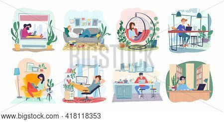 Set Of Freelance People Working Remotely. Collection Of Woman And Man Use Computer Or Laptop At Comf
