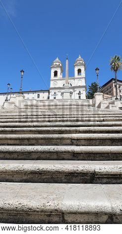 Spanish Steps At Trinita Dei Monti In Rome Without People During The Damage Caused By The Coronaviru
