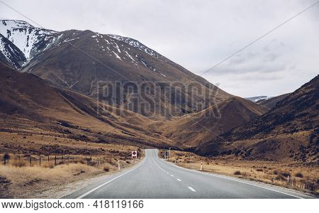 The Landscape View Of Lindis Pass A Mountain Pass At An Elevation Of 971 M Above The Sea Level, Link