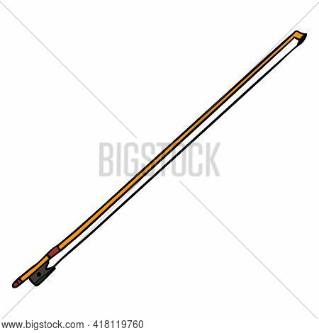 Violin Bow. Classical Music. Musical Instrument. Cartoon Style.
