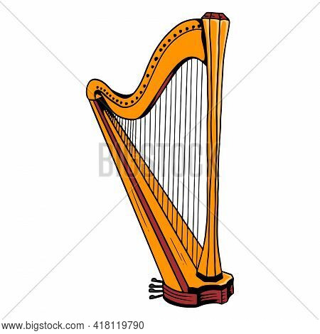 Harp. Classical Music. Musical Instrument. Cartoon Style.