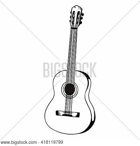 Guitar. Classical Music. Musical Instrument. Cartoon Style.