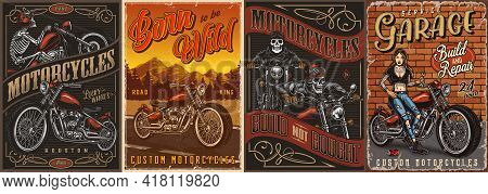 Motorcycle Vintage Colorful Posters Set With Skeleton Moto Riders In Helmet And Goggles Custom Motor