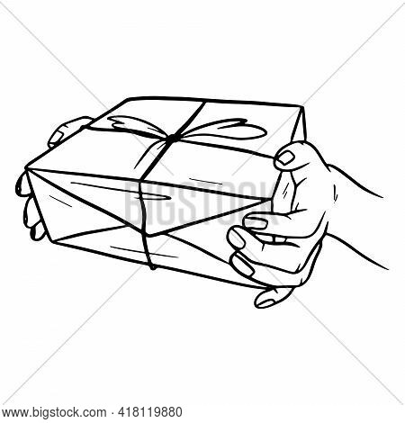 Package. Post Office. Box In Hand. Delivery. Cartoon Style.