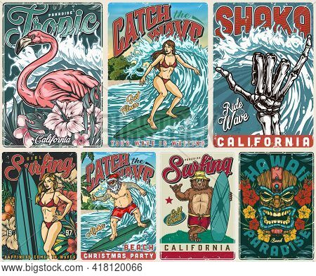 Surfing Paradise Vintage Posters With Exotic Flowers Pink Flamingo Skeleton Hand Showing Shaka Sign