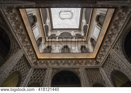 Seville, Spain - 07 April, 2019: The Royal Alcazars Of Seville Is A Royal Palace In Seville, Spain,