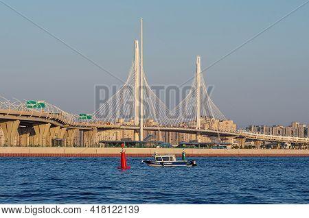 Saint-petersburg - 2020/06/26: Saint-petersburg. Police Boat In The Gulf Of Finland.