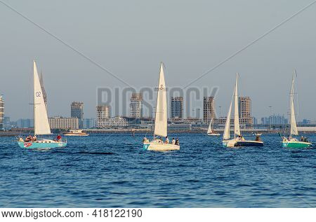 Saint-petersburg - 2020/06/26: Yachts In The Gulf Of Finland.