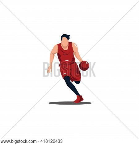 Man Dribbling The Ball On Basket Ball Game - Illustrations Of Basket Ball Player Dribbling The Ball