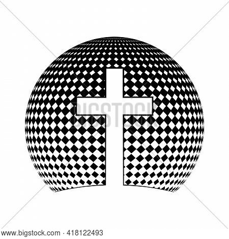 Christian Cross Icon. Vector Christian Cross. Black Religion Symbol. Vector Illustration