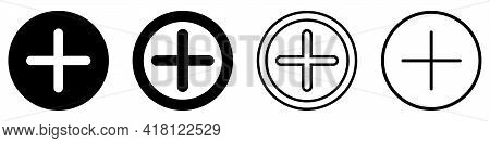 More Icon. Set Of Plus Icons In A Circle. Vector Illustration. Isolated Icons