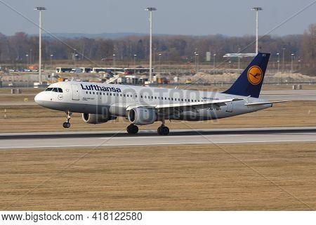 Munich, Germany - March 27, 2012: Lufthansa Passenger Plane At Airport. Schedule Flight Travel. Avia
